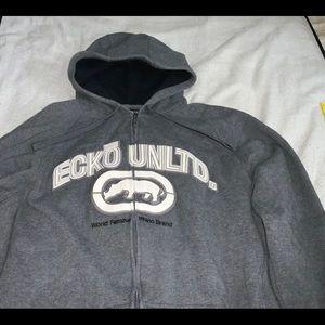 ECKO UNLTD. Fleece Jacket Gray Used Mens L Loose